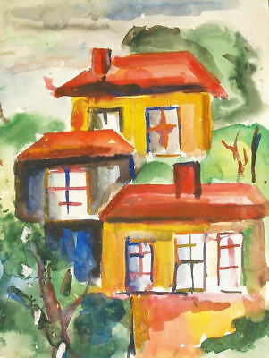 Antique Watercolor Painting Country Scene