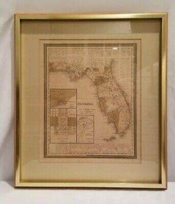 19th Century Map Of Florida Beautifully Framed