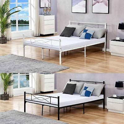 Luxury Single, Double & King Size Black or White Metal Bed Frame XEOHome