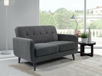 Grey Fabric Sofa 2 Seater Compact Small . Free Next Day Delivery. Wooden legs.