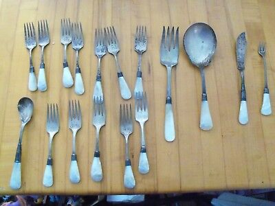 17pc Mixed Antique Lot of Silver Plated Flatware W/ Mother of Pearl Handles