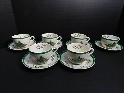Spode Christmas Tree 6 Cup And Saucer Sets England