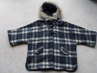 Girls Faux-fur edged Hooded,Checked Jacket, Cape-like with 3/4 sleeves 8-9yrs
