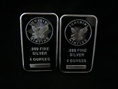 """Sunshine Mint 5 oz Silver Bar with Security MintMark """"New"""" Lot of (2)"""