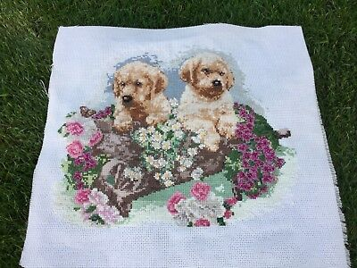 Vintage Needlepoint Picture Embroidery Tapestry Sewing Golden Labrador Dog Puppy