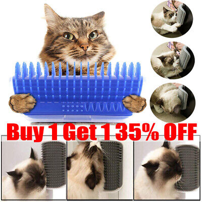 Cat Pet Self Groomer Brush Wall Corner Grooming Hair Comb Massage Tool Toy