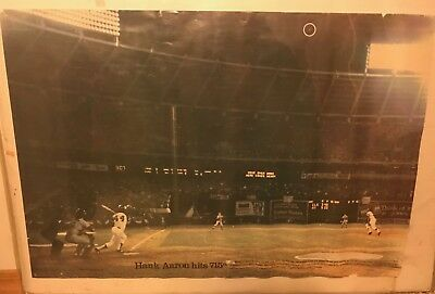 1974 HANK AARON #44 ATLANTA BRAVES Hits 715th HOME RUN Sports Illustrated Poster
