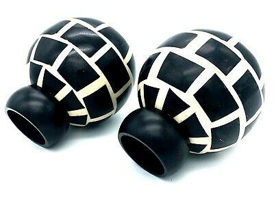 Mosaic finials for 28mm curtain pole black & cream ball beaded finial  (197)
