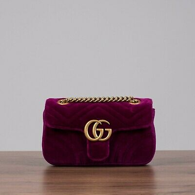 8f0a4cf51 GUCCI 1590$ Mini GG Marmont Matelasse Shoulder Bag In Rubin Velvet