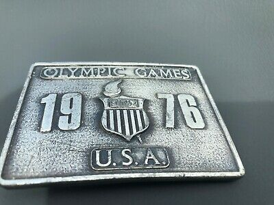 Vintage 1976 USA Olympic Games Sports Belt Buckle