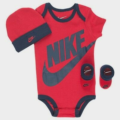 NIKE Baby Boy / Girl 3-piece Outfit Gift Set Red and Blue 0-6 months