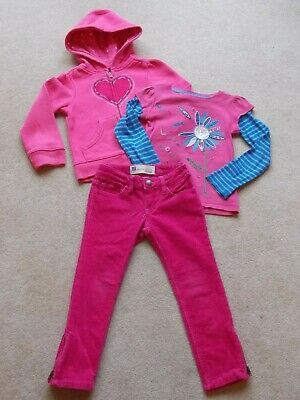 Girls GAP Cords/Applique T-shirt/ Zipped Hoodie Heart Detail Outfit Age 4yrs