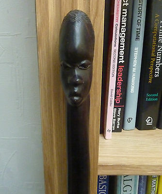 Antique African Walking Stick /Cane Twisted Ebony Wood - Carved Man's Head