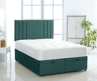 Storage ottoman divan bed set - Suede - Linear headboard - Made in UK