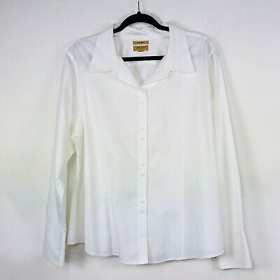 3bba6da415a Gold Label Investments Womens Top 2X Long Sleeve White Non-Iron Cotton Blend