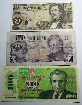 Austria / Cheslovakia Banknotes LOT - 3 pieces