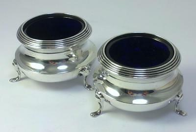 Pair of Antique hallmarked Sterling Silver Salt Cellars & Liners – 1913