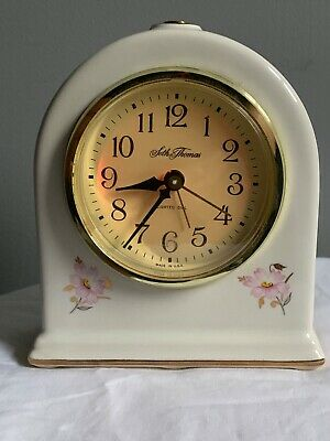 Seth Thomas Vintage white mantle clock - floral with gold trim. Made in USA