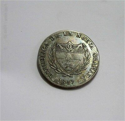 1847 Colombia 8 Reales Bogota Republic of New Granada !!RARE!! XF+ AU