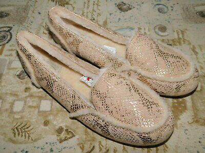 9bf01ab7305 New Nwob Womens Size 9 Gold Ugg Hailey Metallic Snake Sheepskin Loafers  Slippers