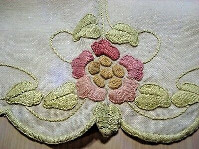 """Arts and Crafts Centerpiece - Abstract Flowers Embroidery on Linen - 21"""" Round"""
