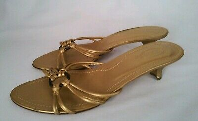 51bd5006b91 Tod s Women s Gold Leather Strappy Low Heel Sandals Shoes Made in Italy  Size 9