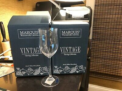 """8.5"""" Tall waterford marquis Crystal """"Vintage White"""" Wine Glass NewWithsticker x8"""