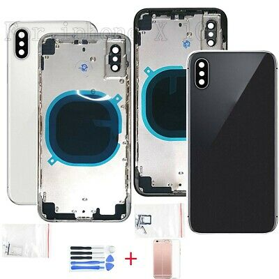 Replacement For iPhone X Metal Housing Glass Back Battery Case Cover Mid Frame