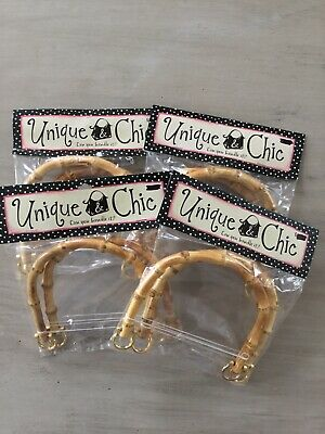 "Lot Of 4 Pairs Bamboo Arched Handbag Purse Handles With Gold Hardware  6.5"" X 5"""