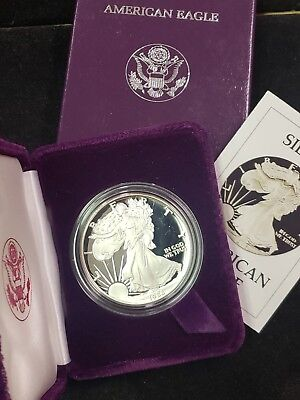 1986 S Silver American Eagle Proof,with Box, Case. and COA