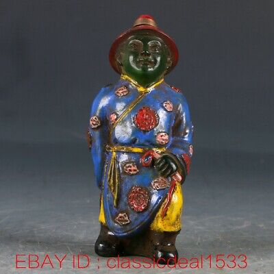 Old Peking(18th) Colored Glaze HandWork Carved Officials Snuff Bottle CC0212