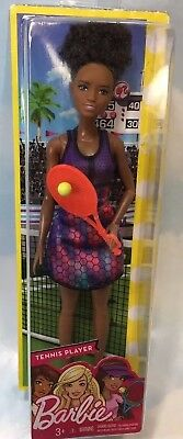 NEW TENNIS PLAYER African American Barbie Doll COLLECTOR Tennis Racquet BLACK