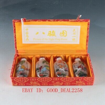 Chinese Glass Hand Carved Exquisite Eight horses Snuff bottle 4 Pcs  ZJ270