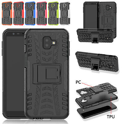 For Samsung Galaxy J4 Plus J6 Plus Heavy Duty Plastic Shield Stand Case Cover