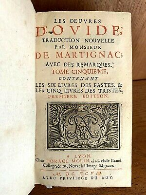 """1697 WORKS OF OVID """"The Festivals"""" and """"Sorrows"""""""