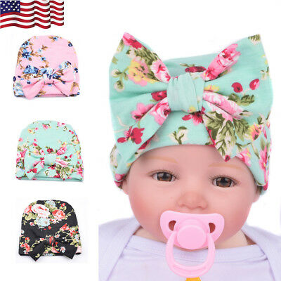 f3ff76fb24e USA Girl Baby Infant Colorful Striped Soft Hat with Bow Cap Newborn Beanie  Cute