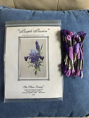Purple Passion Iris - The Silver Lining Cross Stitch Chart W/19 Skeins of Floss