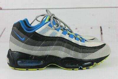 huge selection of 2a9a5 6ac66 NIKE ID AIR Max 95 Men's Gray Blue Neon Green Size 7.5 Running Shoes