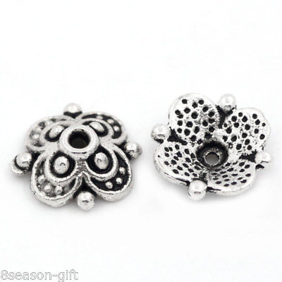 """100PCs Bead End Caps Findings Four Flower Silver Tone 10mmx10mm(3/8""""x3/8"""")"""