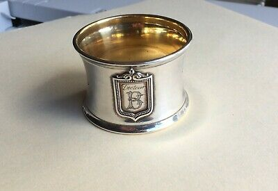 Antique French Sterling Silver Napkin Ring - 19th C Minerva Head- MAKERS MARK