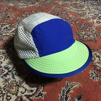 Patagonia Duck Bill Hat Cap Cycling Running Made In USA White Blue Vintage  90s e5535a1a2064