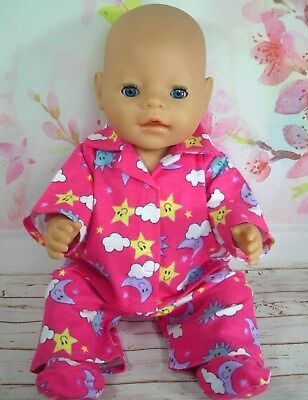 "Dolls clothes for 17"" Baby Born doll~MOON~STARS~SUN WINTER PYJAMAS~BED SOCKS"