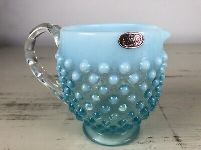 Vintage Fenton Large Creamer/ Small Pitcher Opalescent Blue Glass With Sticker B