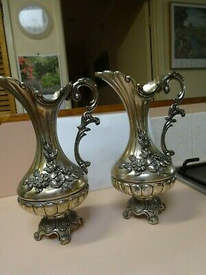 Antique Italian floral-design WATER PITCHERS(pair).Silver plate 95-100