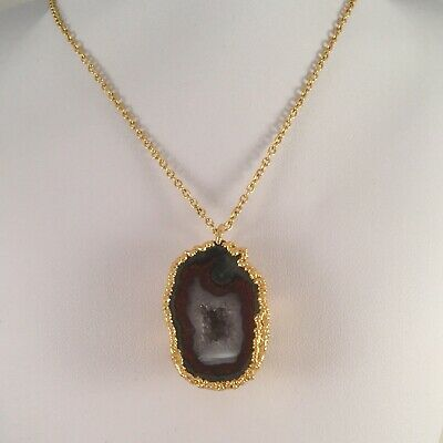 Vintage Jewellery Gold Chain Necklace Gemstone Geode Pendant Antique Jewelry