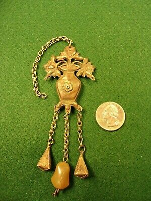Very Old Vtg Antique High Grade Silver Opium Snuff Chatelaine, Bell Dangles +++