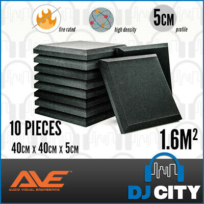 10pcs Acoustic Studio Foam Pad Sound Absorbing Soundproofing Panel - Charcoal