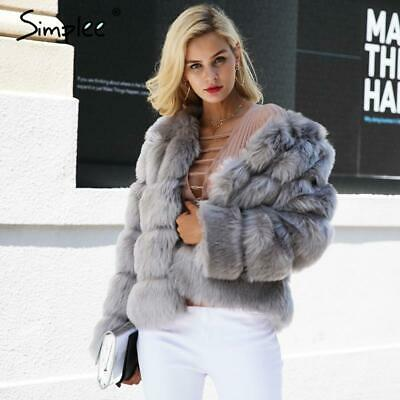 Simplee Vintage fluffy faux fur coat