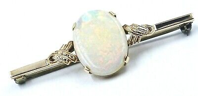 VINTAGE HANDMADE 9ct Yellow Gold & Opal Brooch - Val: $1,845