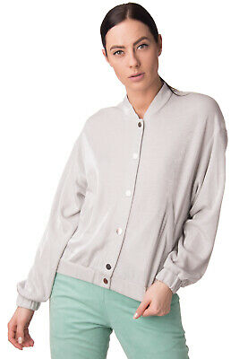 PINKO Bomber Style Jacket Size 38 / XS Shiny Unlined Popper Front Made in Italy
